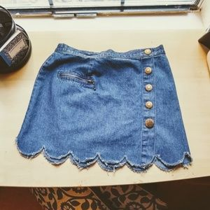 Button Up Frayed Denim Scalloped Mini Skirt